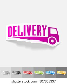 DELIVERY paper sticker with shadow. Vector illustration