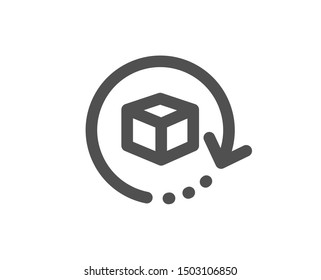 Delivery parcel sign. Return package icon. Cargo goods box symbol. Classic flat style. Simple return package icon. Vector