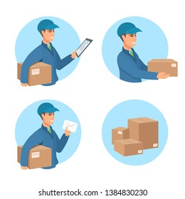 Delivery of parcels, goods, purchases. The man smiles, holds out a box, holding a document, a letter. Blue uniform of a postman with a hat. A postal worker in the service. Vector cartoon illustration.
