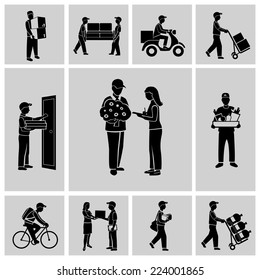 Delivery person courier service postman job icons black set isolated vector illustration