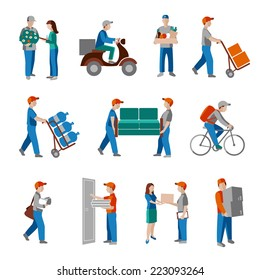 Delivery person freight logistic business industry icons flat set isolated vector illustration.