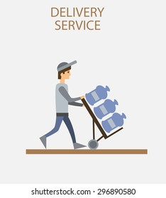 Delivery person freight logistic business industry icon flat isolated vector illustration.