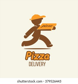 Delivery. Pizza delivery. Vector logo, sign. A man with a box of pizza.