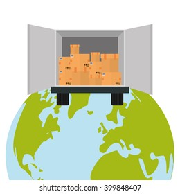 Delivery and planet  design, vector illustration