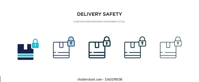 delivery safety icon in different style vector illustration. two colored and black delivery safety vector icons designed in filled, outline, line and stroke style can be used for web, mobile, ui