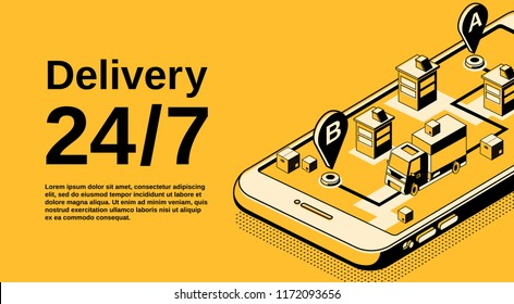 Delivery service 24 7 vector illustration of logistics shipping tracking technology. Order parcel and car truck on smartphone navigation map in isometric thin line design on black and yellow halftone