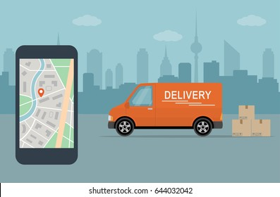 Delivery service app on mobile phone. Delivery van and mobile phone with map on city background. Flat style vector illustration.