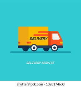 Delivery service. Delivery by car or truck. Parcels Express delivery service by car. Flat style design truck icon. Vector illustration