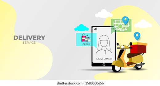 delivery service by scooter, E-commerce concept. Perspective vector. can use for, landing page, template, ui, web, mobile app, poster, banner, flyer, background