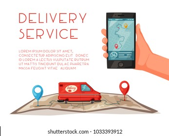 Delivery service by van. Car for parcel delivery. Cartoon vector illustration