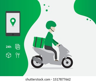 Delivery service cartoon illustration, Grab food, transportation order, Template, Web banner, Mobile app, Facebook ads, Food online, Order through the app, Fast delivery concept