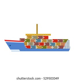 Delivery Service Company for Large Cargo Ship Delivering Shipment Overseas. View From The Side
