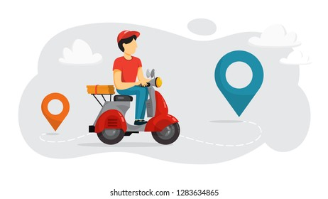 Delivery service concept. Courier with pizza on moped. Person in uniform on scooter. Isolated flat vector illustration