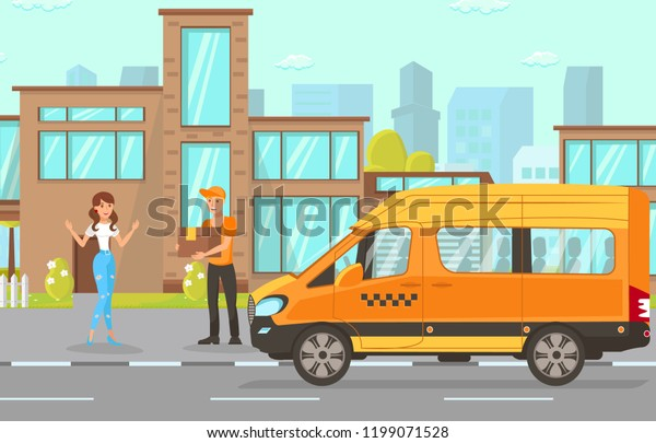 Delivery Service Concept Driver Services City Stock Vector