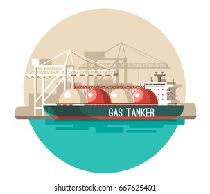 Delivery service concept. Gas tanker ship loading, sea freight. Flat style vector illustration.