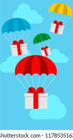 Delivery service concept, mistery gift box with colorful parachute falling Illustration