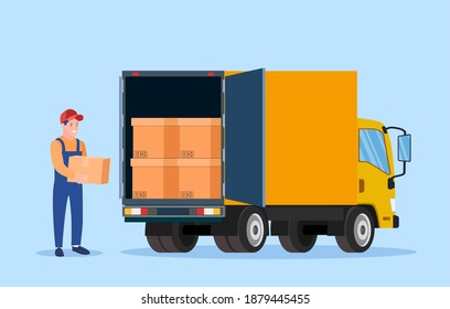 Delivery service concept. moving house. Open delivery truck with furnitures and cardboard boxes. Man with cardboard boxes. Vector illustration in flat style