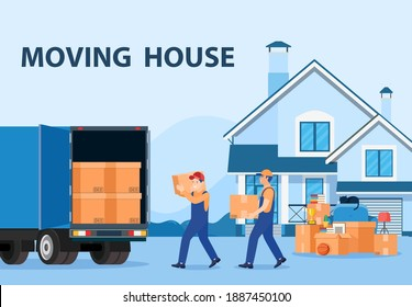 Delivery service concept. moving house. Man with cardboard boxes. Truck for transportation of goods loaded with cardboard boxes. Delivery truck with a bunch of boxes. Vector illustration in flat style