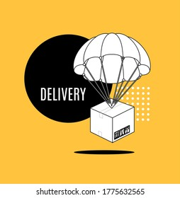 Delivery Service Concept Parachute with Box Banner Ad Contour Linear Style Symbol of Quality. Vector illustration