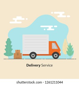 Delivery service concept. Truck and cardboard boxes with fragile signs. Vector illustration.