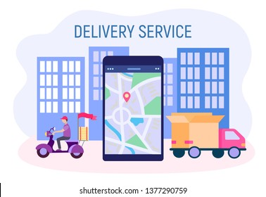 Delivery service concept vector illestration. Courier on a moped delivers goods around the city, a mobile phone with a map and navigation application, a car delivering the goods.