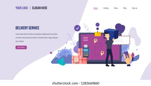Delivery service. Delivery courier, online order tracking correspondence and goods. Navigation route for transportation, payment online and pos terminal. Landing page template. Vector illustration.