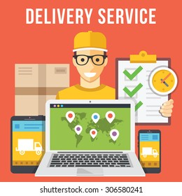 Delivery service and courier parcel collection flat illustration concepts. Modern flat design concepts for web banners, web sites, printed materials, infographics. Creative vector illustration