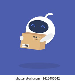 Delivery service. Cute robot holding a cardboard box. New technologies. Flat editable vector illustration, clip art