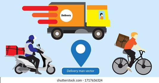 Delivery service flat illustration set.Courier,Delivery man and bicycle courier