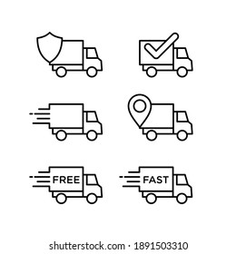 Delivery service icon set. Perfect for design elements from online shopping, delivery shops, and express couriers. Delivery truck outlined icon collection
