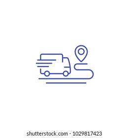 delivery service icon, van and destination point, linear style