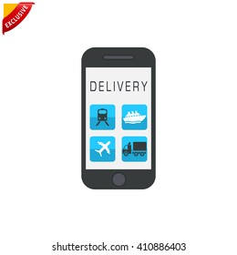 delivery service icon, vector free shipping icon, isolated fast delivery sign