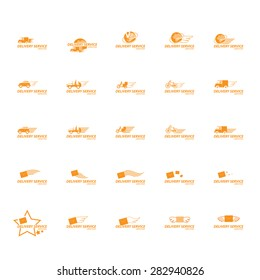 Delivery Service Icons Set - Isolated On White Background - Vector Illustration, Graphic Design, Editable For Your Design