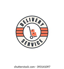 Delivery service logo, hand truck with cardboard boxes silhouette