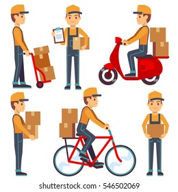 Delivery service man with boxes vector characters set.