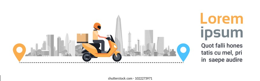Delivery Service, Man Courier Riding Motorcycle With Box Parcel Over Silhouette City Buildings Background Horizontal Banner Flat Vector Illustration