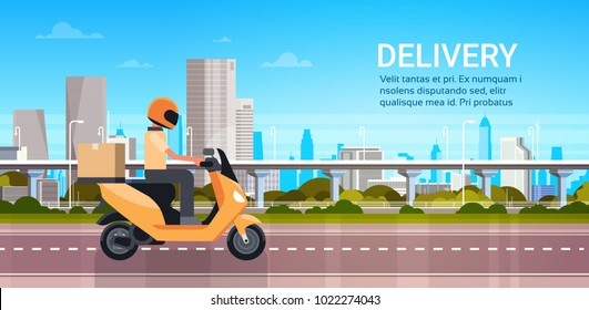 Delivery Service, Man Courier Riding Scooter Or Motorcycle With Parcel Over Modern City Landscape Flat Vector Illustration