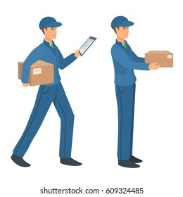 Delivery service man delivers the parcel to the customer. Cartoon illustration.