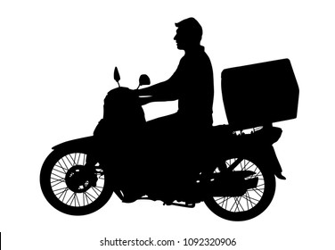 Delivery service man riding a motor bike on white background, vector illustration