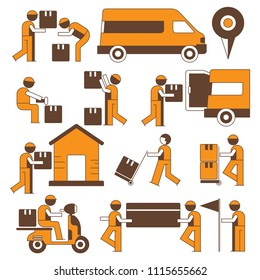 delivery service man, shipping service people character icons