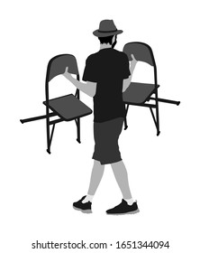 Delivery service moving transport, worker carrying chairs vector illustration. Handyman job. Distribution and procurement. Hipster boy moving after party. Move in.  Man carry chair after concert event