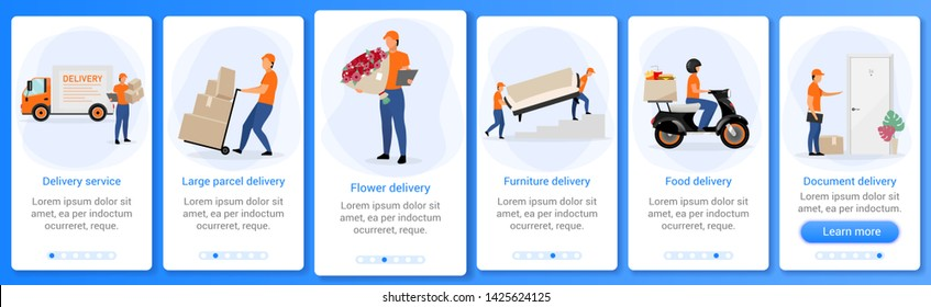 Delivery service onboarding mobile app screen vector template. Flowers, furniture, parcel delivery courier. Walkthrough website steps with flat characters. UX, UI, GUI smartphone cartoon interface