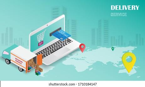 Online-Shopping des Online-Konzepts über Smartphone oder Website-Vektorillustration