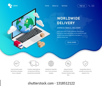 Delivery service online vector isometric illustration. Landing page concept with laptop, icons on blue fluid shape background. Logistic digital shopping advert concept. For web, ui, mobile app