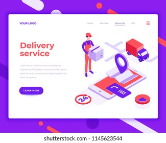 Delivery service people and interact with truck. Landing page template. 3d isometric vector illustration.