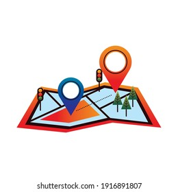 delivery service pins locations in paper map vector illustration design