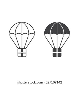 delivery service symbol. package with parachute line icon, outline and filled vector sign, linear and full pictogram isolated on white, logo illustration
