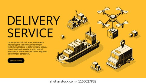 Delivery service transport vector illustration of air freight, ship cargo or drone and truck with parcel boxes. Shipping and logistics types isometric black thin line on yellow halftone background
