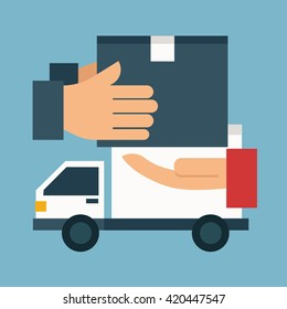 Delivery service and delivery truck concept. Flat design. Vector illustration.