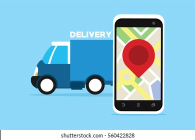 delivery service truck with gps tracking
